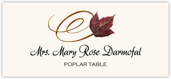 Poplar Swirly Leaf Autumn/Fall Leaves Place Cards
