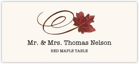 Red Maple Swirly Leaf Autumn/Fall Leaves Place Cards