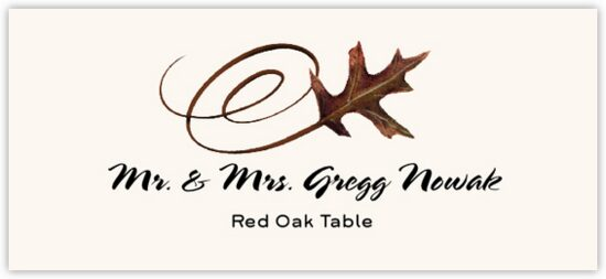 Red Oak Swirly Leaf Autumn/Fall Leaves Place Cards