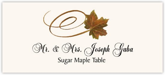 Sugar Maple Swirly Leaf Autumn/Fall Leaves Place Cards