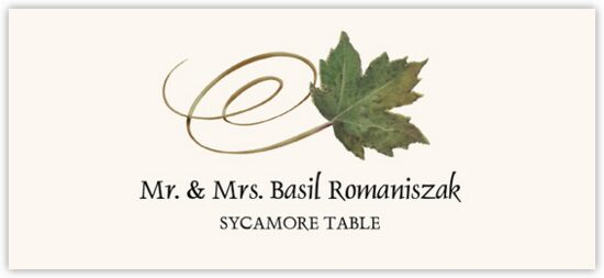 Sycamore Swirly Leaf Autumn/Fall Leaves Place Cards