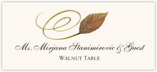 Walnut Swirly Leaf Autumn/Fall Leaves Place Cards