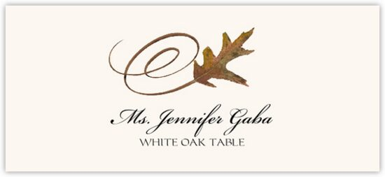 White Oak Swirly Leaf Autumn/Fall Leaves Place Cards