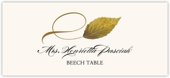 Beech Twisty Leaf Autumn/Fall Leaves Place Cards