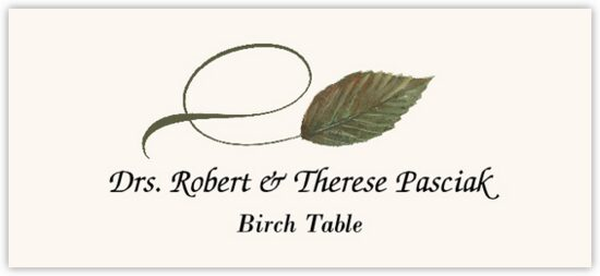 Birch Twisty Leaf Autumn/Fall Leaves Place Cards