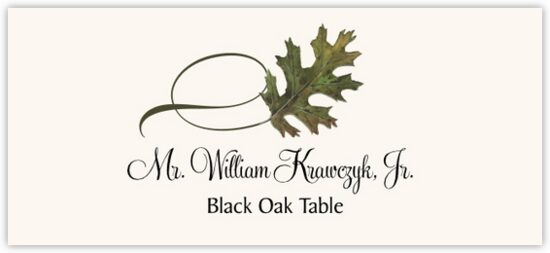 Black Oak Twisty Leaf Autumn/Fall Leaves Place Cards