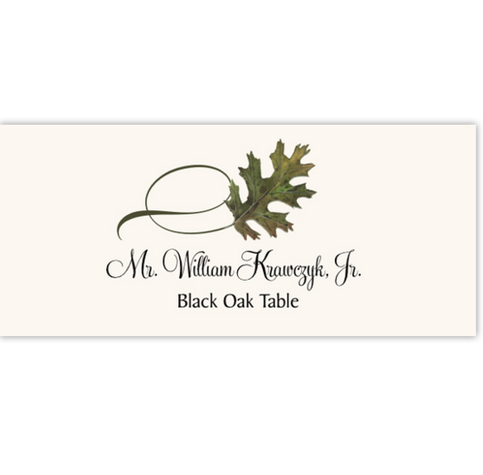 Black Oak Twisty Leaf Autumn/Fall Leaves Place Cards
