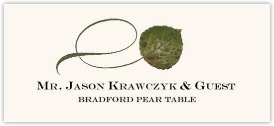 Bradford Pear Twisty Leaf Autumn/Fall Leaves Place Cards