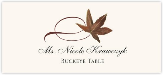 Buckeye Twisty Leaf Autumn/Fall Leaves Place Cards