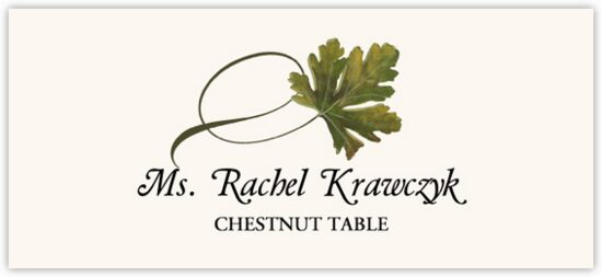 Chestnut Twisty Leaf Autumn/Fall Leaves Place Cards