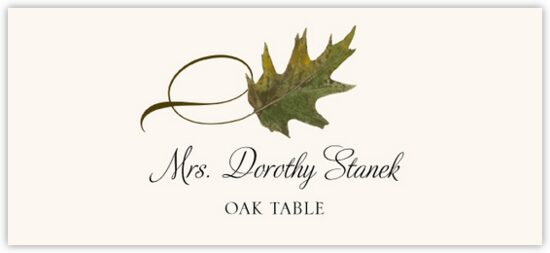 Oak Twisty Leaf Autumn/Fall Leaves Place Cards
