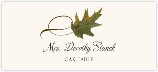 Oak Twisty Leaf Autumn/Fall Leaves Place Cards