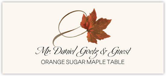 Orange Sugar Maple Twisty Leaf Autumn/Fall Leaves Place Cards