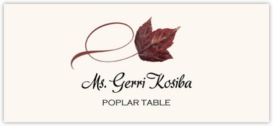 Poplar Twisty Leaf Autumn/Fall Leaves Place Cards