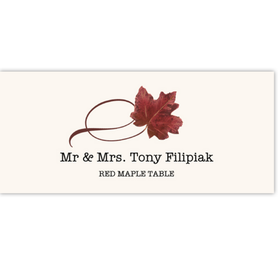 Red Maple Twisty Leaf Autumn/Fall Leaves Place Cards