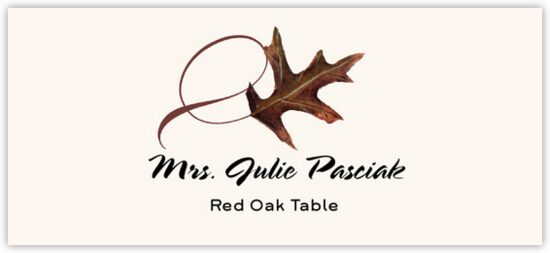 Red Oak Twisty Leaf Autumn/Fall Leaves Place Cards