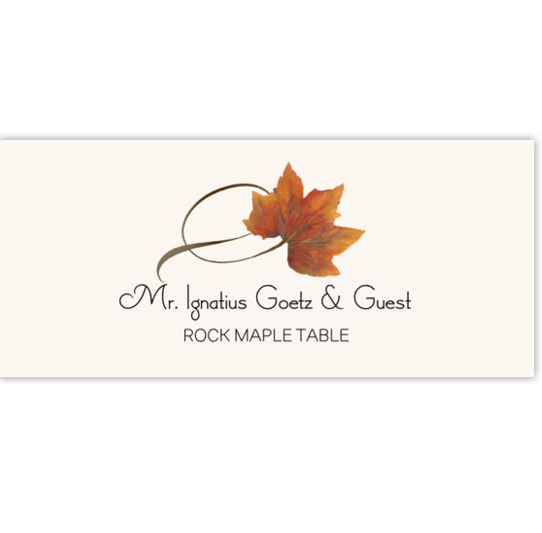 Rock Maple Twisty Leaf Autumn/Fall Leaves Place Cards
