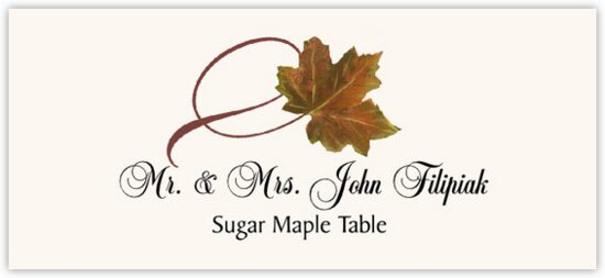 Sugar Maple Twisty Leaf Autumn/Fall Leaves Place Cards