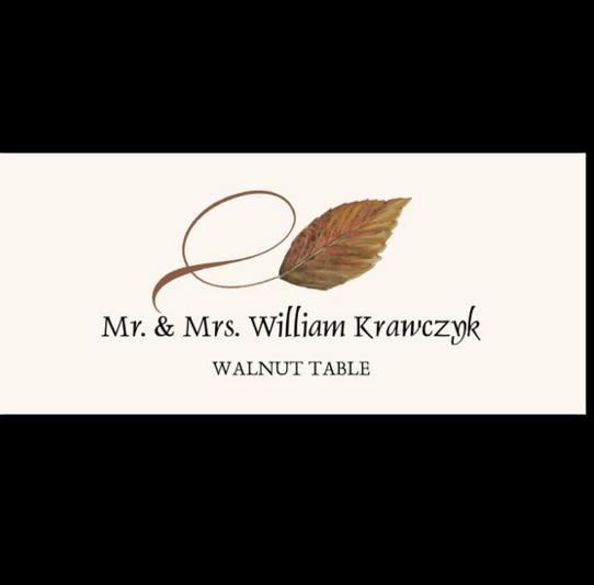 Walnut Twisty Leaf Autumn/Fall Leaves Place Cards