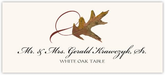 White Oak Twisty Leaf Autumn/Fall Leaves Place Cards