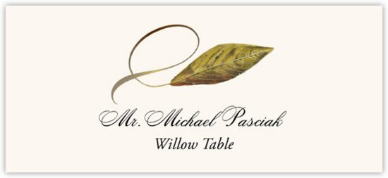 Willow Twisty Leaf Autumn/Fall Leaves Place Cards