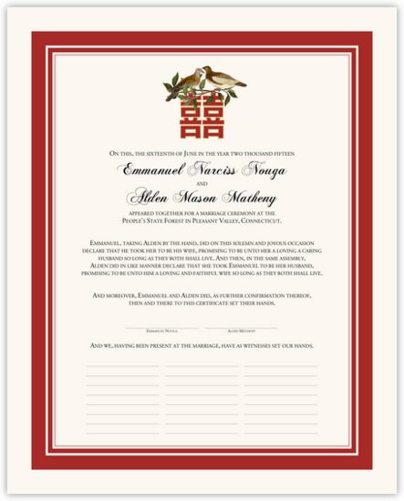 Two Birds Double Happiness Chinese, Japanese, and Eastern Inspired Wedding Certificates