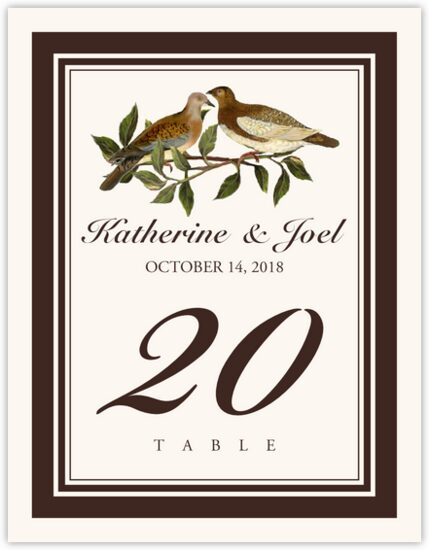 Two Brown Birds Birds and Butterflies Table Numbers