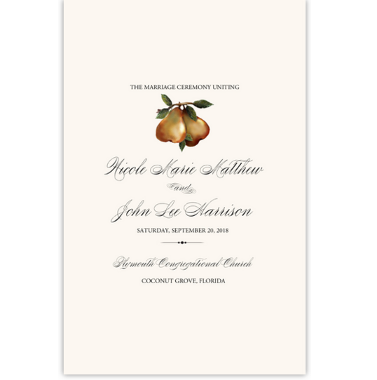 Two Pears Grapes and Vineyard Wedding Programs