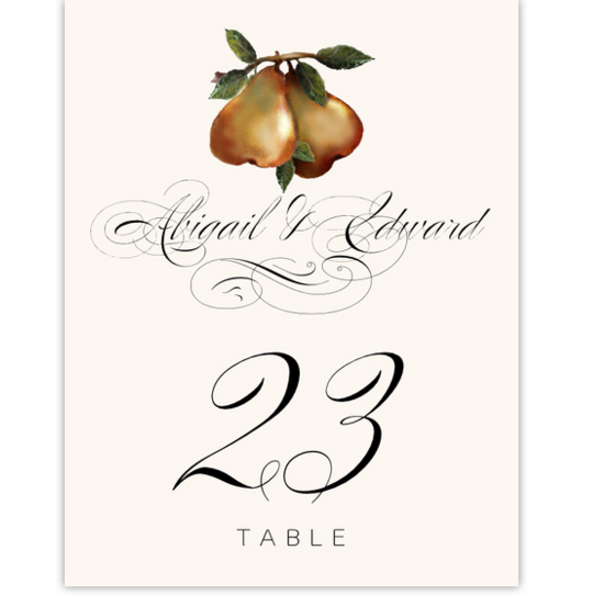 Two Pears Fruit and Grape Table Numbers
