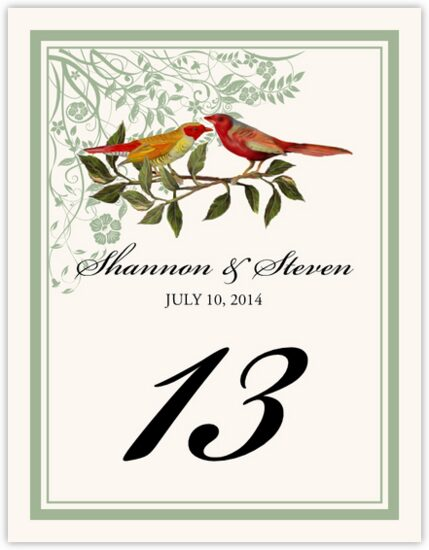 Two Red Birds - Windy Afternoon Birds and Butterflies Table Numbers