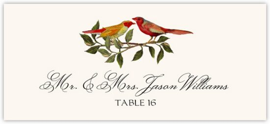 Two Red Birds Birds and Butterflies Place Cards