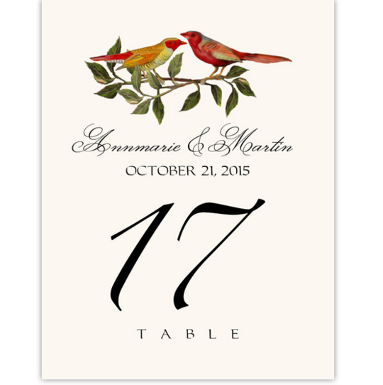 Two Red Birds Birds and Butterflies Table Numbers
