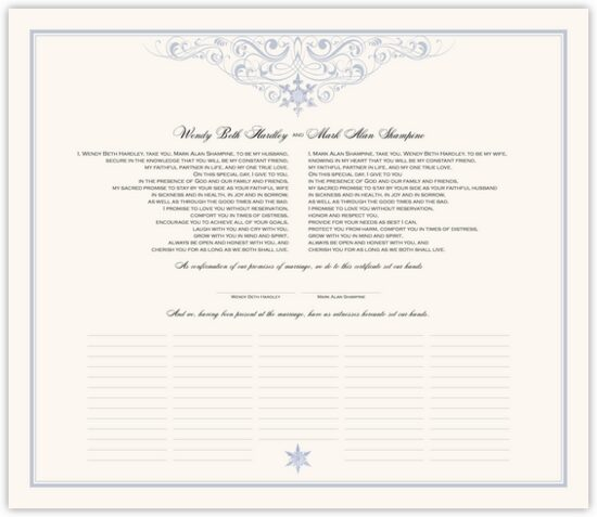 Vintage Snowflake Twist Winter and Snowflake Wedding Certificates
