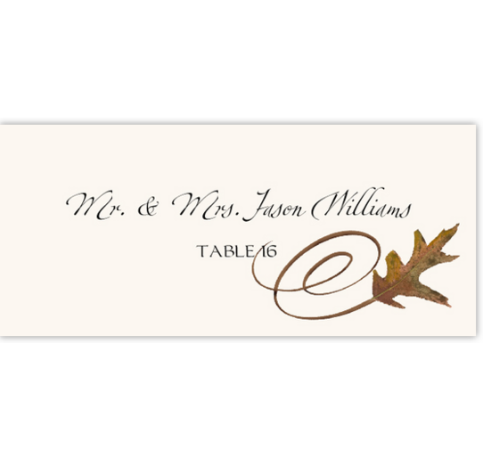 White Oak Swirl Autumn/Fall Leaves Place Cards