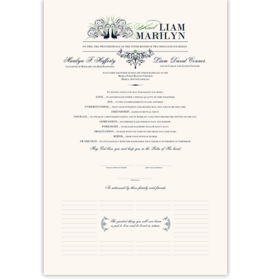 Passionate Peacock 01 Birds and Butterflies Wedding Certificates