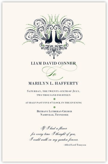 Passionate Peacock Birds and Butterflies Wedding Programs