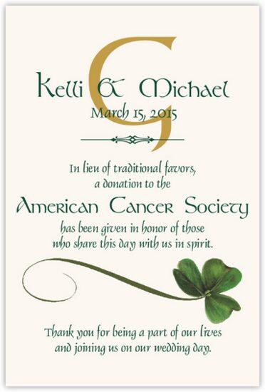 Wispy Shamrock Celtic Theme Wedding Donation Cards