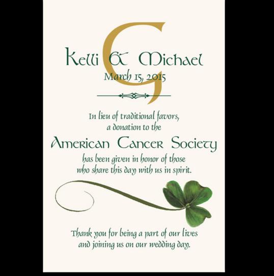 Wispy Shamrock Celtic Theme Wedding Donation Cards