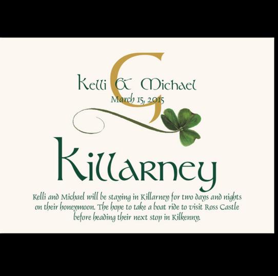 Wispy Shamrock Celtic Theme Wedding Table Cards