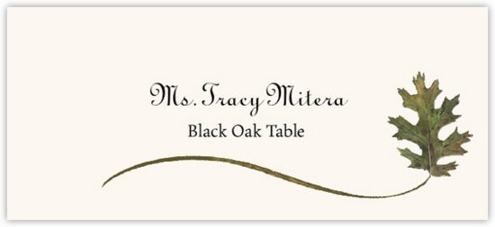 Black Oak Wispy Leaf Autumn/Fall Leaves Place Cards