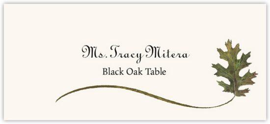Black Oak Wispy Leaf Autumn/Fall Leaves Place Cards
