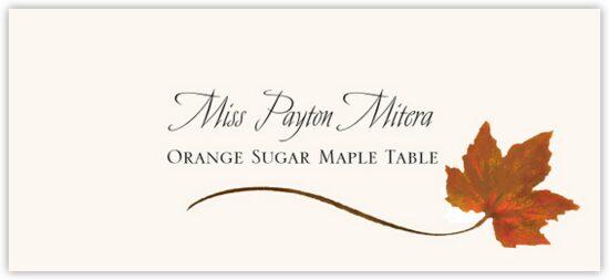 Orange Sugar Maple Wispy Leaf Autumn/Fall Leaves Place Cards