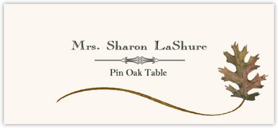 Pin Oak Wispy Leaf Autumn/Fall Leaves Place Cards