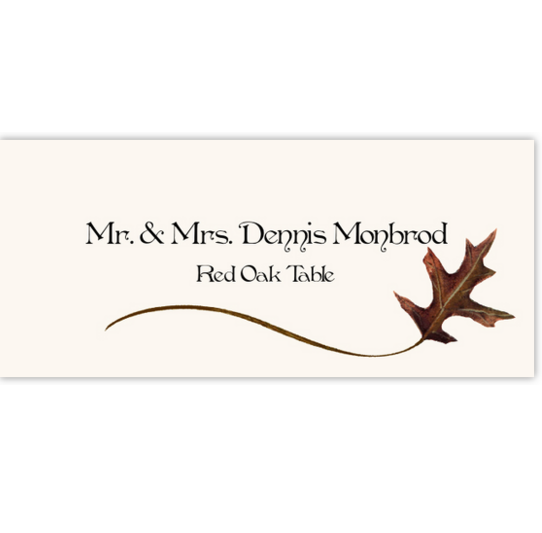 Red Oak Wispy Leaf Autumn/Fall Leaves Place Cards