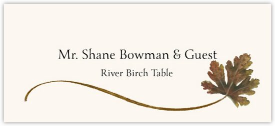 River Birch Wispy Leaf Autumn/Fall Leaves Place Cards