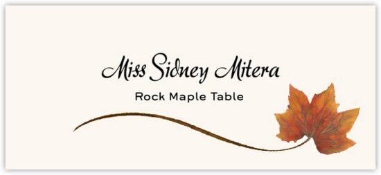 Rock Maple Wispy Leaf Autumn/Fall Leaves Place Cards