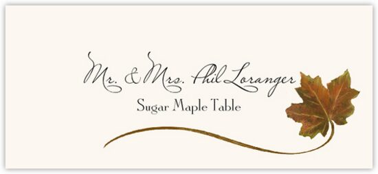 Sugar Maple Wispy Leaf Autumn/Fall Leaves Place Cards