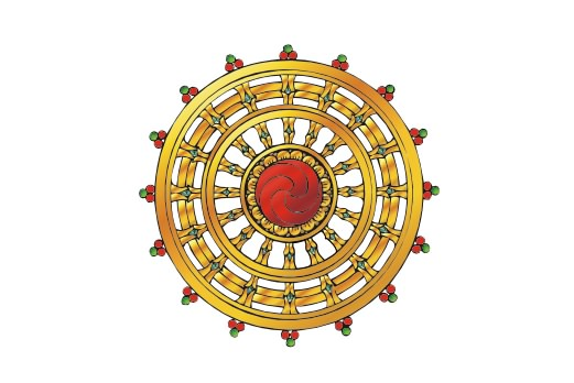 Cultural Illustrations Dharma Wheel (colored) Artwork