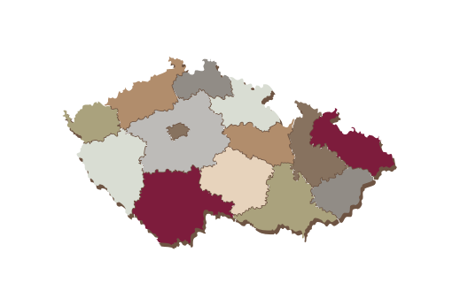 Cultural Illustrations Map of Czech Republic Artwork