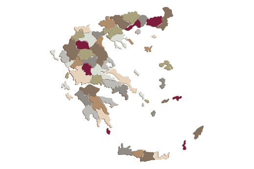 Cultural Illustrations Map of Greece Artwork